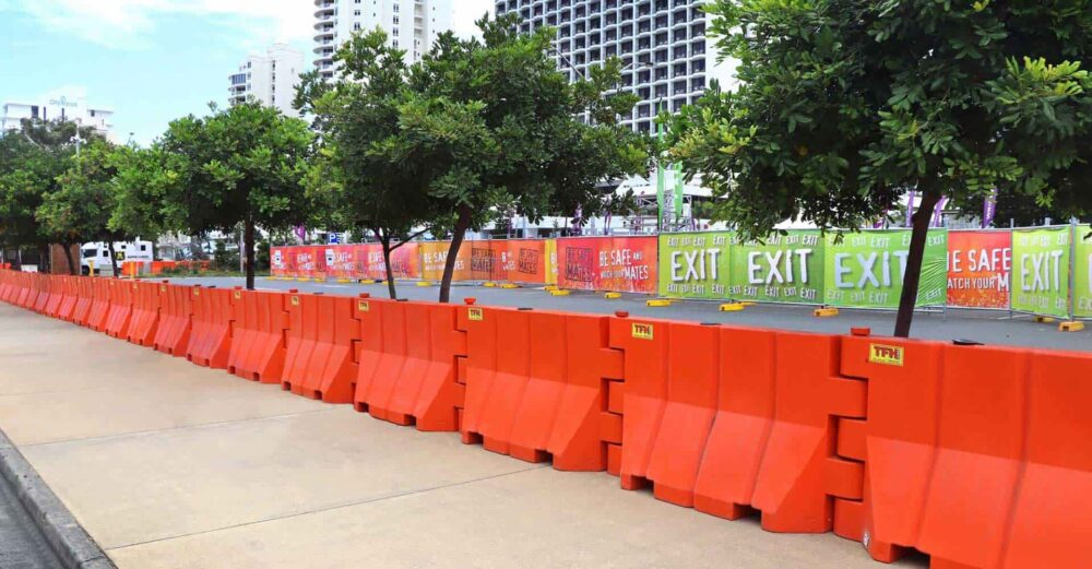Water barriers at schoolies on the Gold Coast